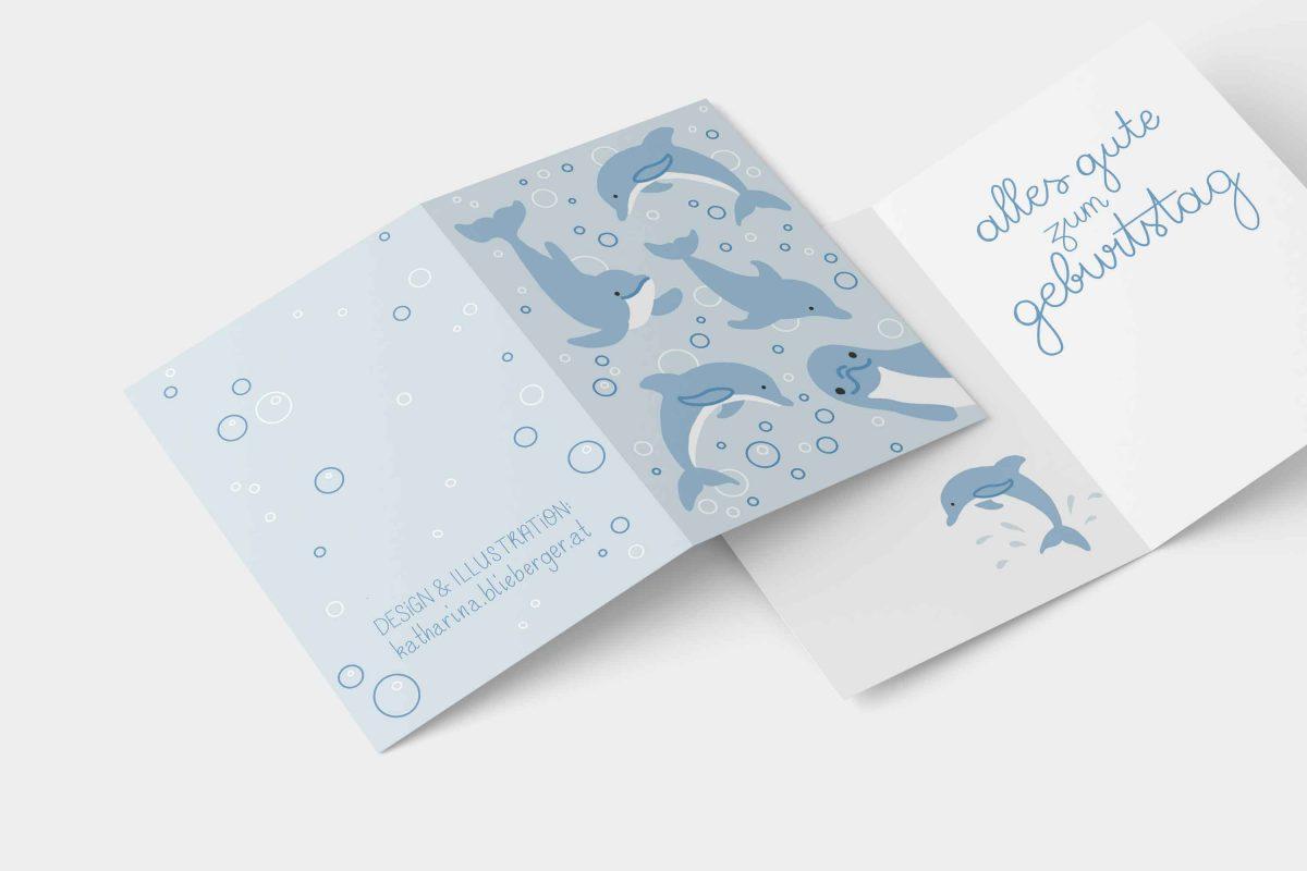 Birthday Card Dolphin Design